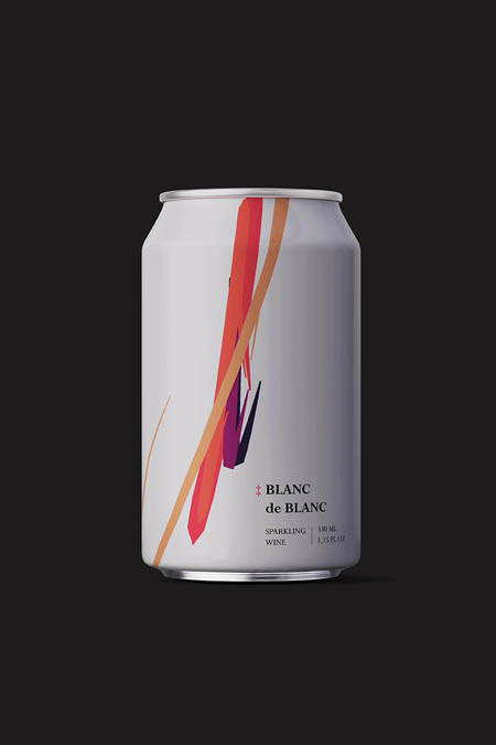 Sparkling wine in can with an augmented reality experience.