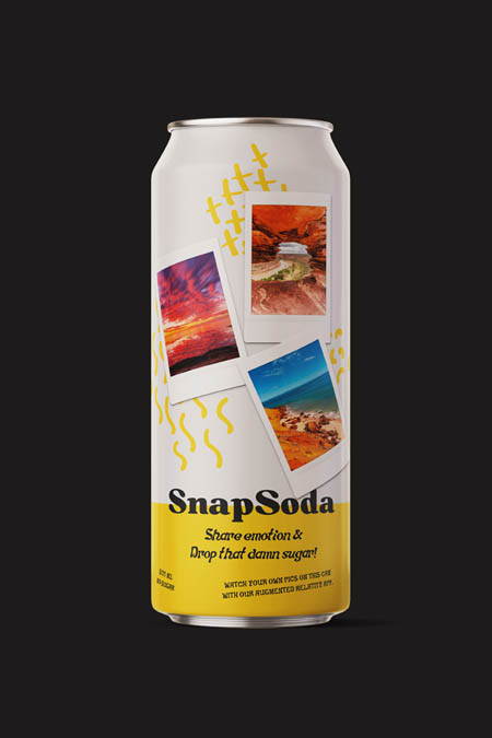 SnapSoda is a sugar-free beverage that uses augmented reality to share your own pics directly on the can.